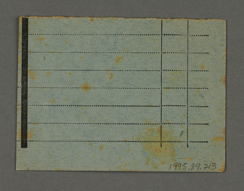 1995.89.713 back Work assignment slip from the Kovno ghetto