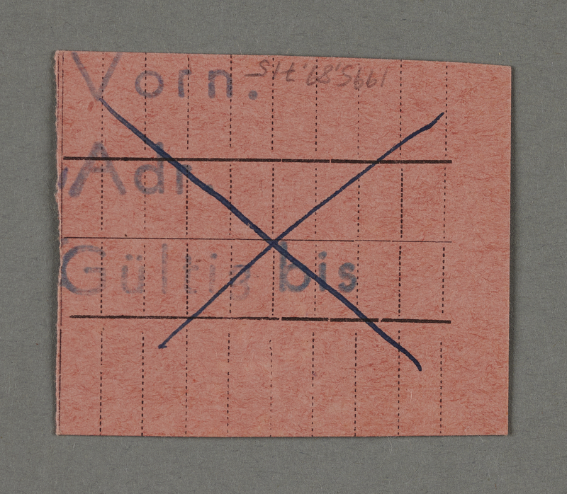 1995.89.715 back Work assignment slip from the Kovno ghetto