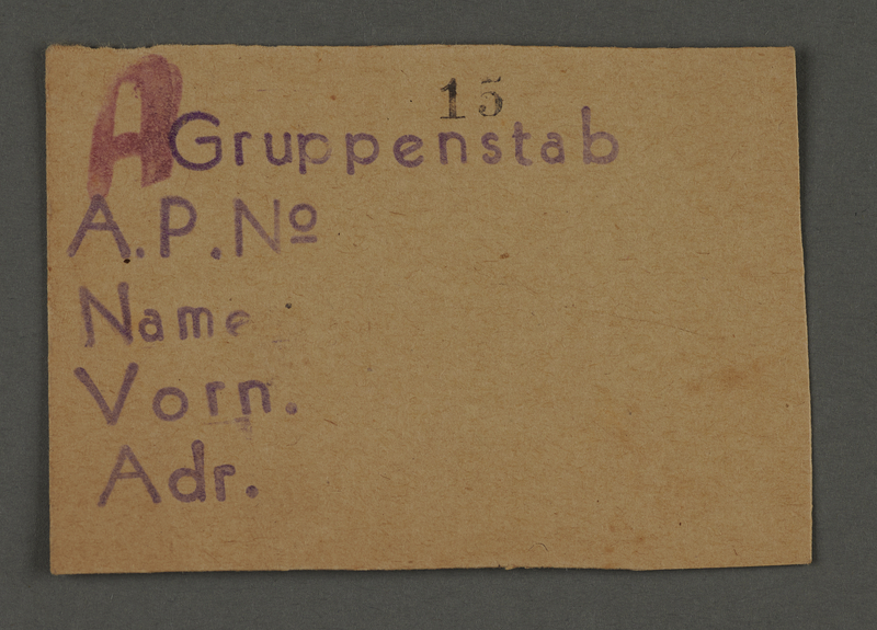 1995.89.716 front Work assignment slip from the Kovno ghetto