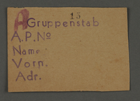 1995.89.716 front Work assignment slip from the Kovno ghetto  Click to enlarge