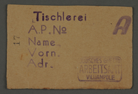 1995.89.719 front Work assignment slip from the Kovno ghetto  Click to enlarge