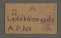 1995.89.720 front Work assignment slip from the Kovno ghetto  Click to enlarge