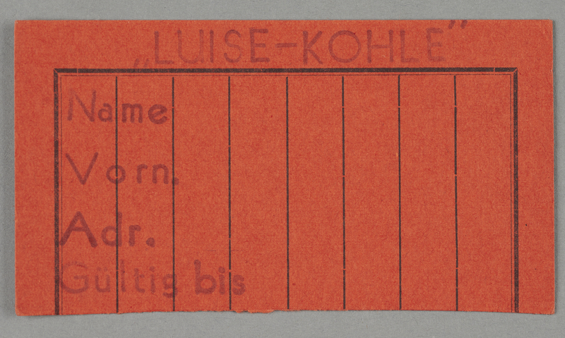 1995.89.721 front Work assignment slip from the Kovno ghetto