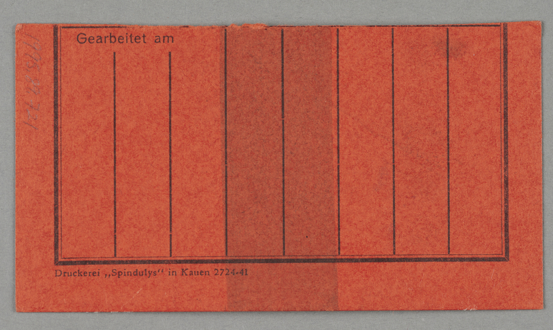 1995.89.721 back Work assignment slip from the Kovno ghetto