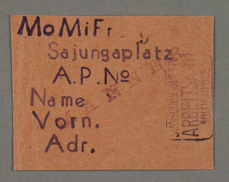1995.89.722 front Work assignment slip from the Kovno ghetto