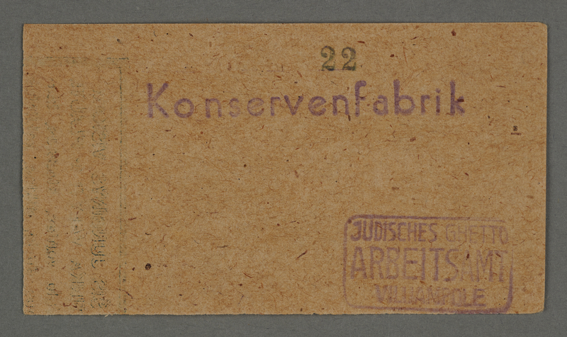 1995.89.723 front Work assignment slip from the Kovno ghetto
