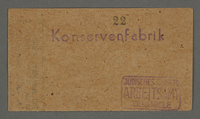 1995.89.723 front Work assignment slip from the Kovno ghetto  Click to enlarge