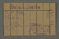 1995.89.725 front Work assignment slip from the Kovno ghetto  Click to enlarge