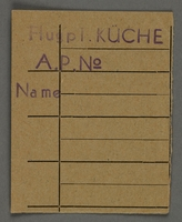 1995.89.726 front Work assignment slip from the Kovno ghetto  Click to enlarge