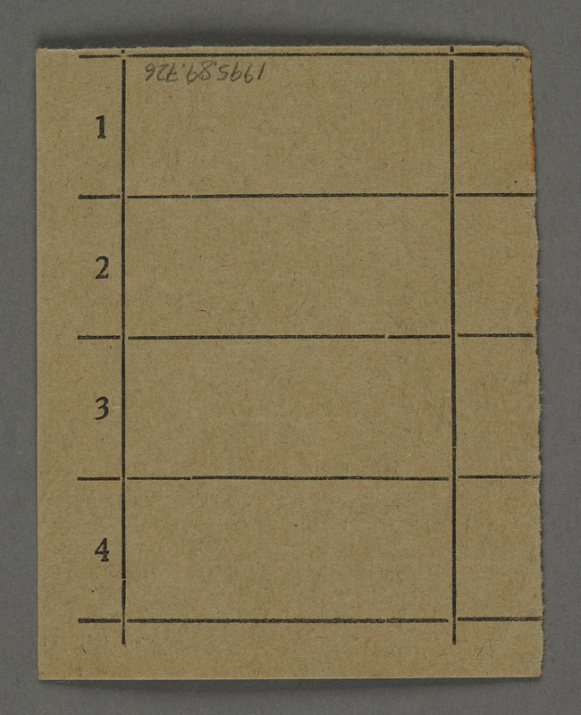 1995.89.726 back Work assignment slip from the Kovno ghetto