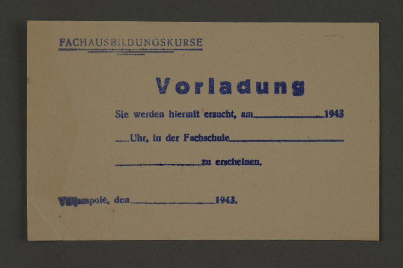 1995.89.730 front Summons for professional training course in the Kovno ghetto