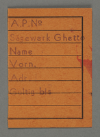1995.89.735 front Work assignment slip from the Kovno ghetto  Click to enlarge