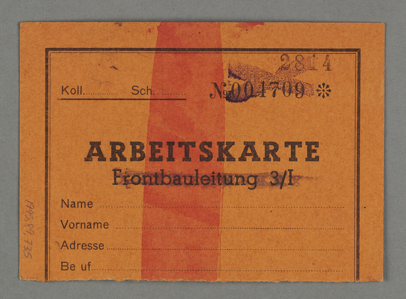 1995.89.735 back Work assignment slip from the Kovno ghetto