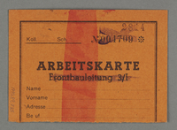 1995.89.735 back Work assignment slip from the Kovno ghetto  Click to enlarge