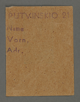 1995.89.736 front Work assignment slip from the Kovno ghetto  Click to enlarge