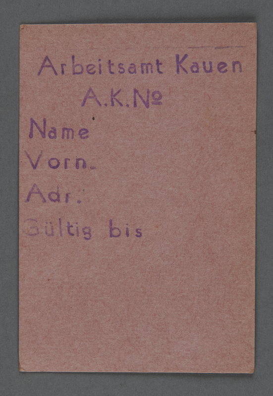 1995.89.739 front Work assignment slip from the Kovno ghetto