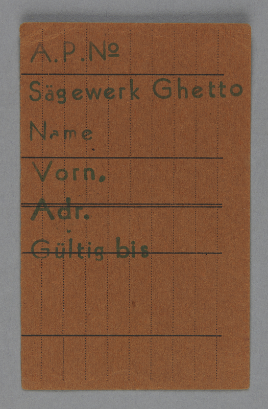 1995.89.740 front Work assignment slip from the Kovno ghetto