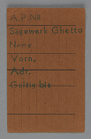 1995.89.740 front Work assignment slip from the Kovno ghetto  Click to enlarge