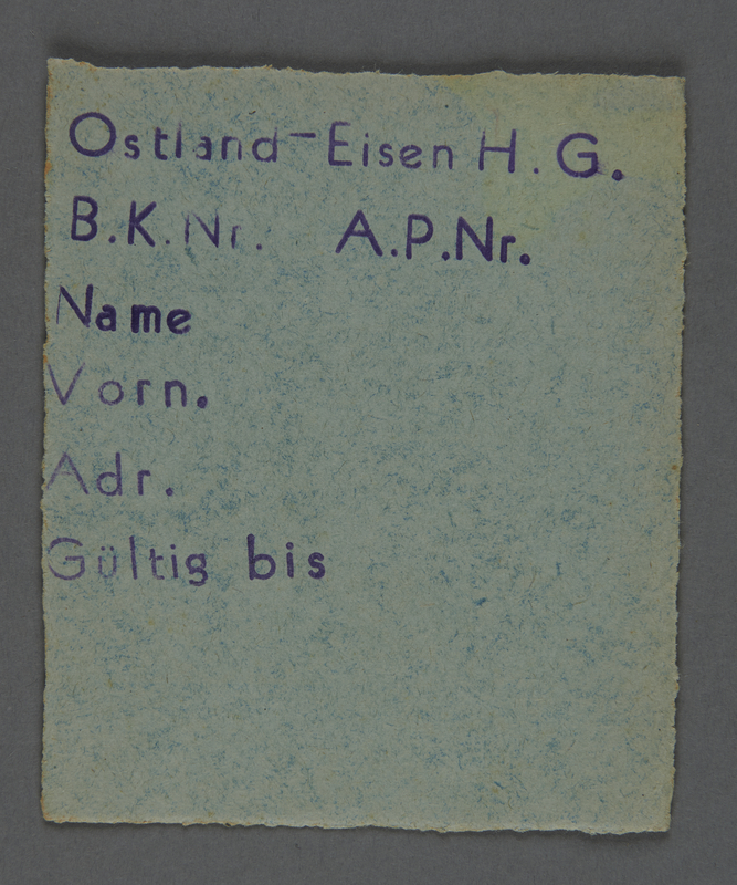 1995.89.742 front Work assignment slip from the Kovno ghetto
