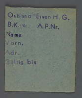 1995.89.742 front Work assignment slip from the Kovno ghetto  Click to enlarge