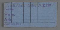 1995.89.743 front Work assignment slip from the Kovno ghetto  Click to enlarge