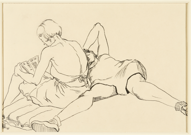 1988.1.40 front Drawing of two women in undergarments relaxing on a mattress by by a German Jewish internee