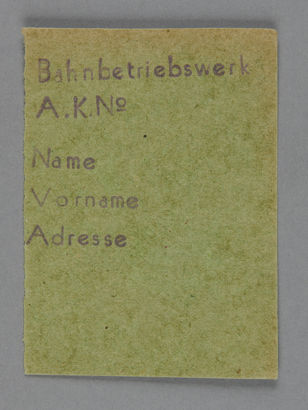 1995.89.746 front Work assignment slip from the Kovno ghetto