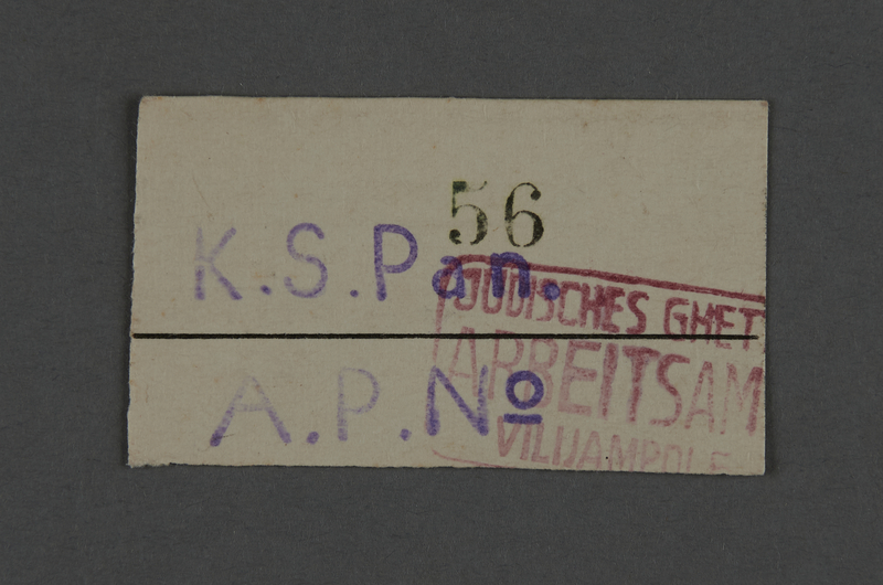 1995.89.751 front Work assignment slip from the Kovno ghetto
