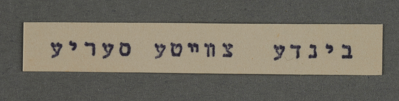 1995.89.761 front Typewritten inscription from an administrative department of the Kovno ghetto