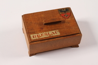 2014.469.3 front Inscribed wooden box labelled Breslau bought by a Polish youth after his escape from forced labor  Click to enlarge