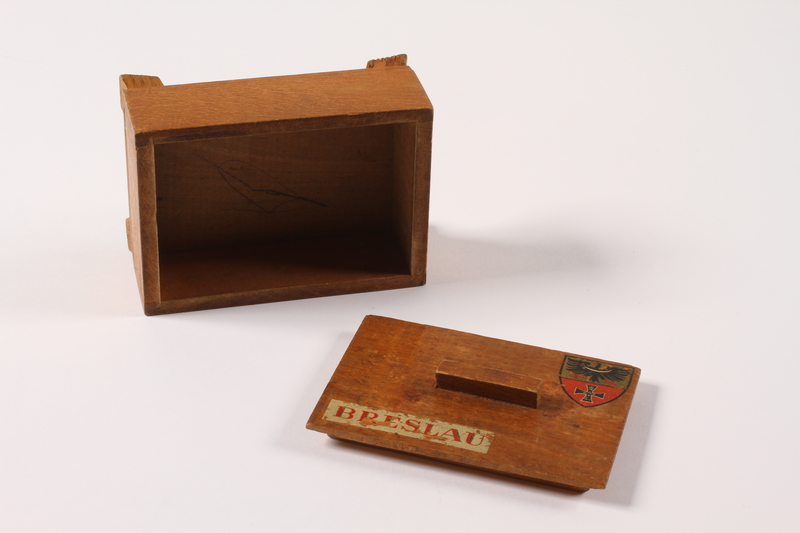 2014.469.3 top Inscribed wooden box labelled Breslau bought by a Polish youth after his escape from forced labor