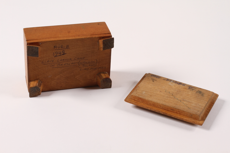 2014.469.3 bottom Inscribed wooden box labelled Breslau bought by a Polish youth after his escape from forced labor