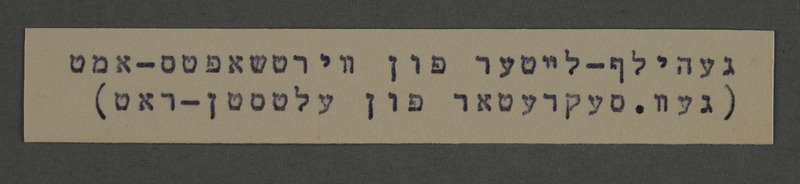 1995.89.771 front Typewritten inscription from an administrative department of the Kovno ghetto