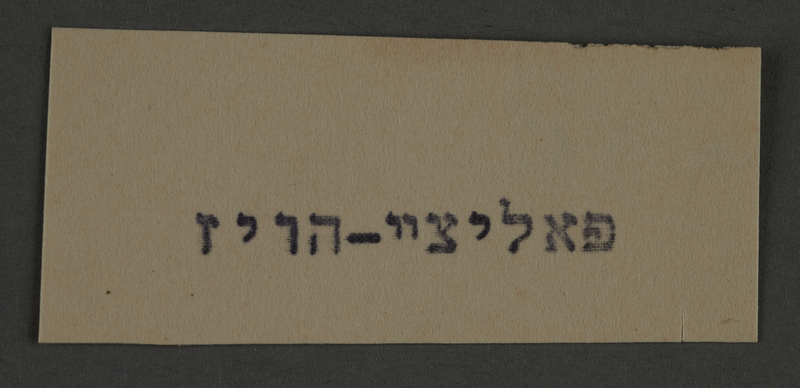1995.89.787 front Typewritten inscription from an administrative department of the Kovno ghetto