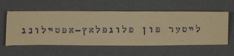 1995.89.788 front Typewritten inscription from an administrative department of the Kovno ghetto