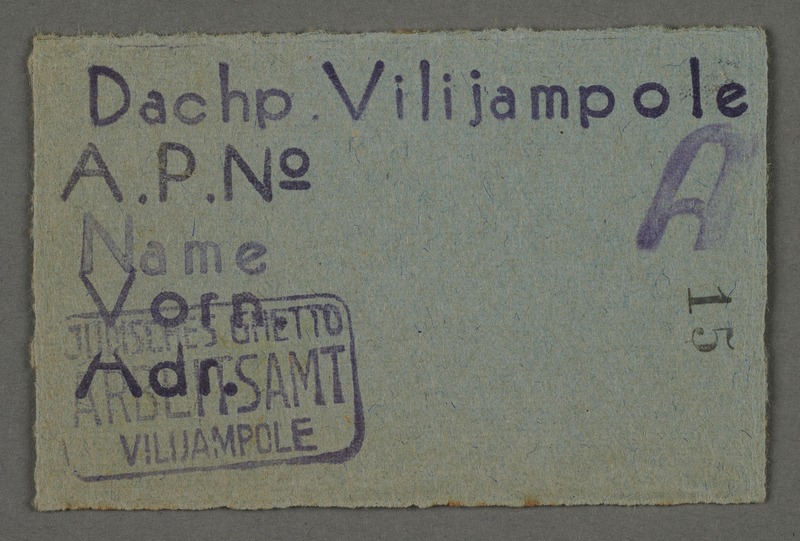 1995.89.79 front Work assignment slip from the Kovno ghetto