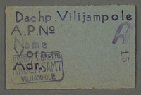 1995.89.79 front Work assignment slip from the Kovno ghetto  Click to enlarge