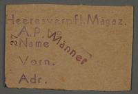 1995.89.80 front Work assignment slip from the Kovno ghetto  Click to enlarge