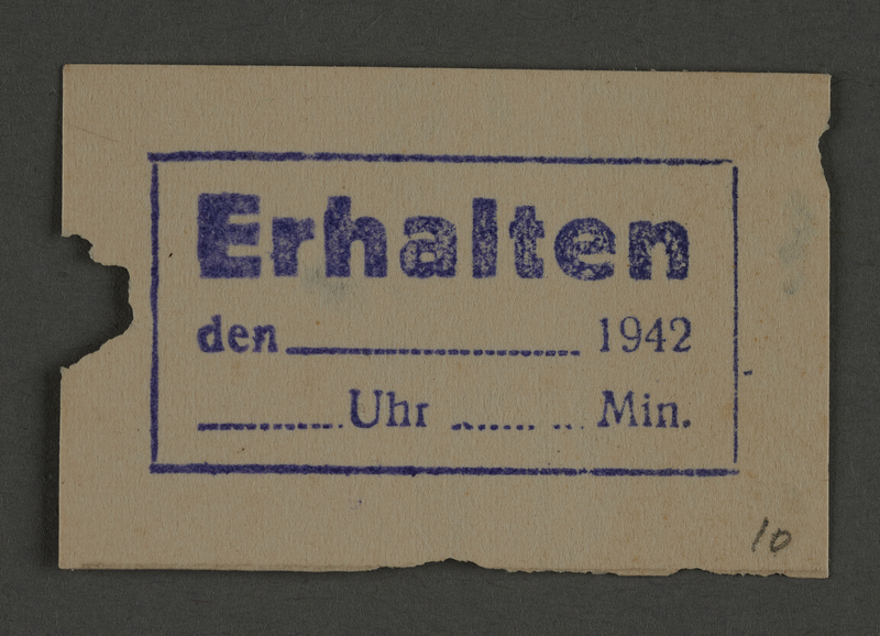 1995.89.802 front Ink stamp impression from an administrative department of the Kovno ghetto