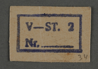 1995.89.804 front Ink stamp impression from an administrative department of the Kovno ghetto  Click to enlarge
