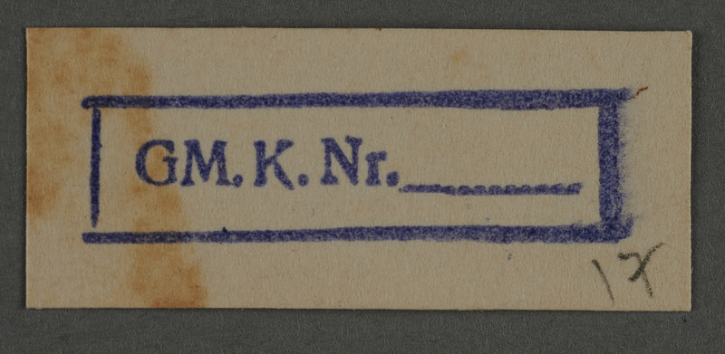 1995.89.807 front Ink stamp impression from an administrative department of the Kovno ghetto