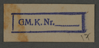 1995.89.807 front Ink stamp impression from an administrative department of the Kovno ghetto  Click to enlarge