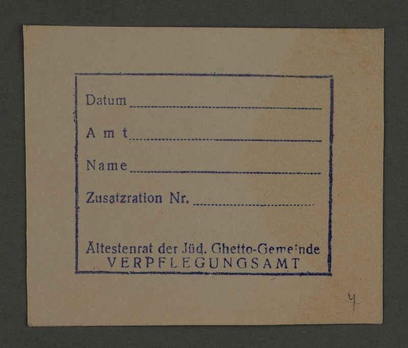 1995.89.808 front Additional rations card issued by the Food Supplies office of the Kovno ghetto