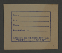 1995.89.808 front Additional rations card issued by the Food Supplies office of the Kovno ghetto  Click to enlarge