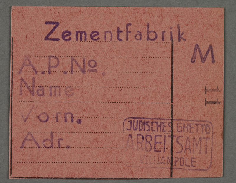 1995.89.81 front Work assignment slip from the Kovno ghetto