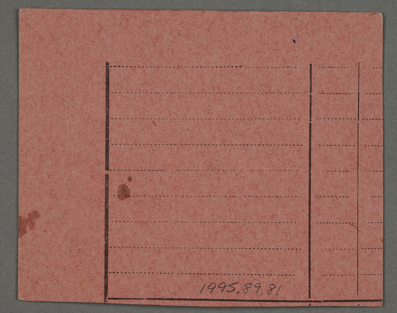 1995.89.81 back Work assignment slip from the Kovno ghetto