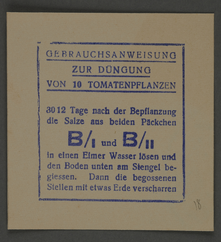 1995.89.810 front Instructions for fertilizing tomato plants from the Kovno ghetto