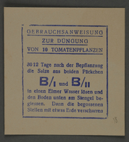 1995.89.810 front Instructions for fertilizing tomato plants from the Kovno ghetto  Click to enlarge