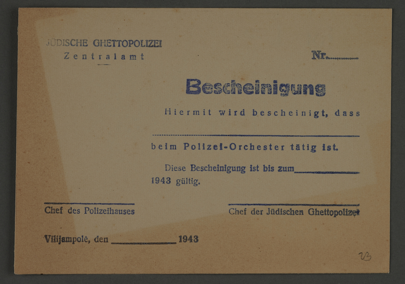 1995.89.818 front Membership certificate for Police Orchestra, Kovno ghetto