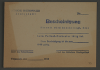 1995.89.818 front Membership certificate for Police Orchestra, Kovno ghetto  Click to enlarge